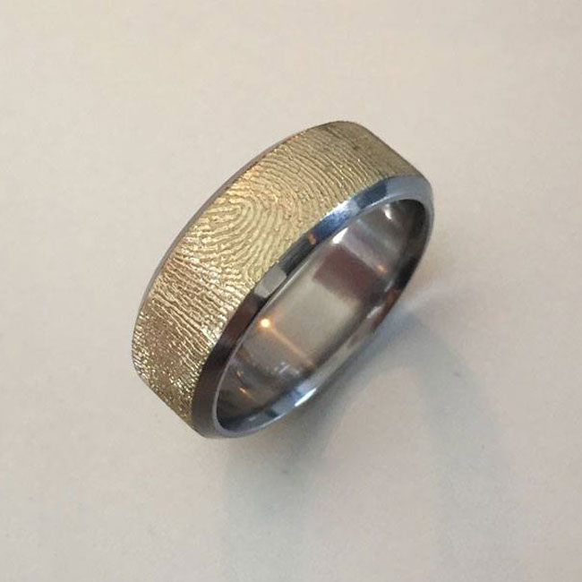 yellow gold fingerprint ring