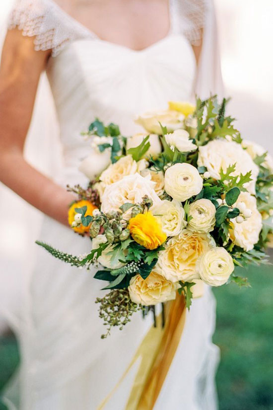 Yellow White Flower Bouquet for Weddings